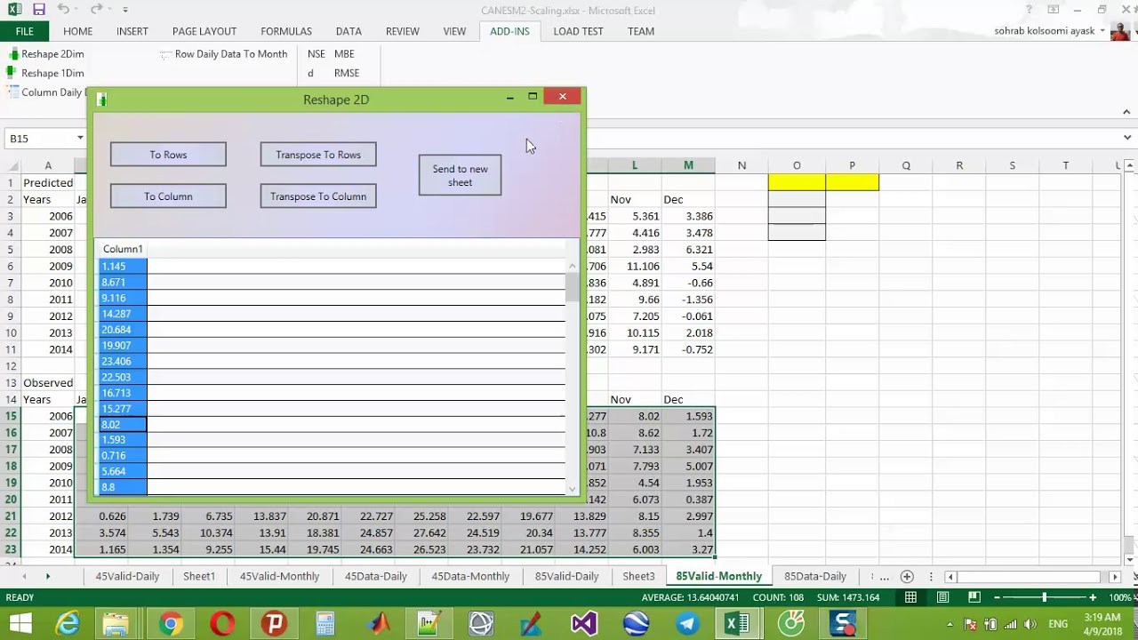 Simple calculate RMSE in excel