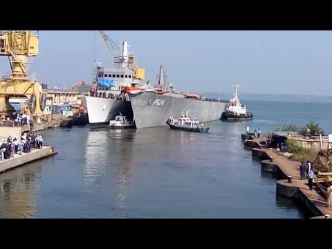 Launching of srilankan OPV in Goa shipyard Lmt