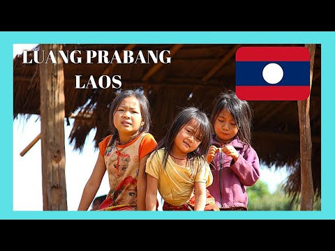 LAOS, WALKING through a graphic RURAL VILLAGE in LUANG PRABANG, amazing views