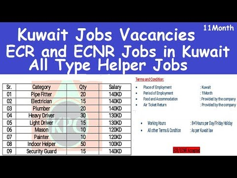 Kuwait Jobs Vacancies l All Type Helper Jobs in Kuwait l Kuwait Jobs Salary l ECR and ECNR Jobs