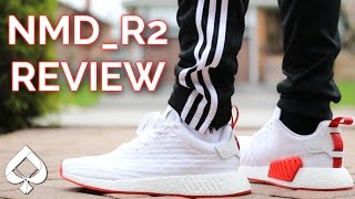 camisa intervalo Comedia de enredo  Adidas NMD R2 (White/Red) Review | On-Feet - YouTube