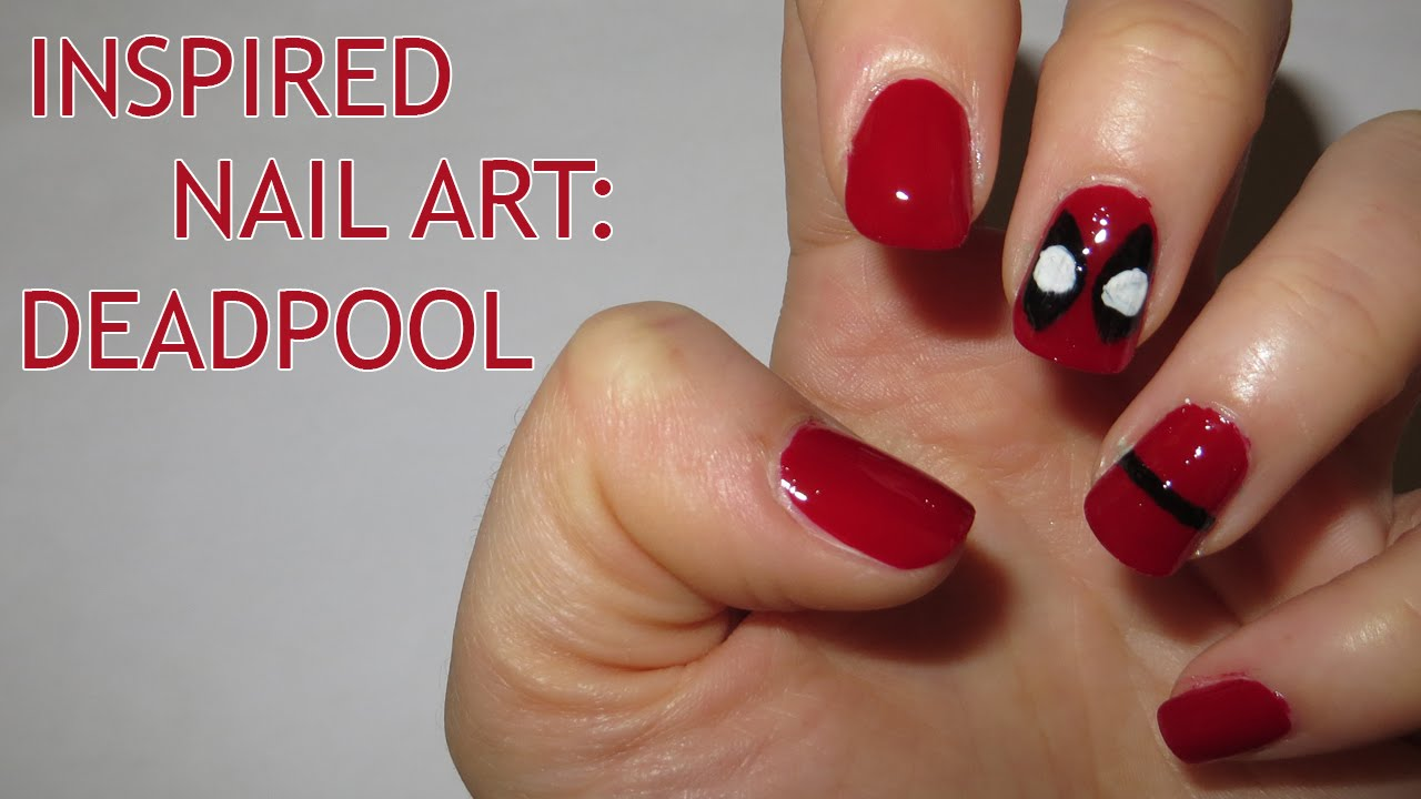 Inspired Nail Art: Deadpool - Inspired Nail Art: Deadpool - YouTube