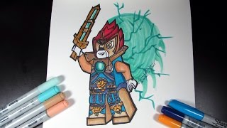 How to draw Laval from Legends of Chima - Lego Speed Draw #42