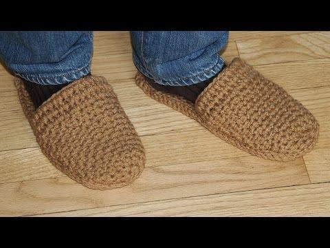 Вязание крючком мужских тапочек видео