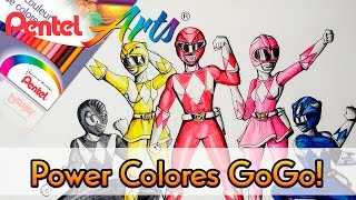 Revisión  LÁPICES DE COLOR PENTEL ARTS  (Dibujando Power Rangers) | ArtGio