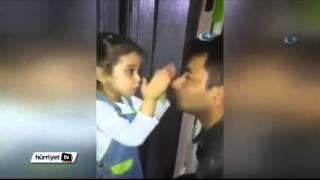 Türkiye bu kızı konuşuyor ! Minik kız polis babasını göreve böyle gönderdi