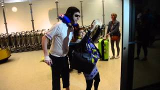 """Sacha Baron Cohen Arrives At LAX in Character as Nobby from His New Movie """"The Brothers Grimsby"""""""