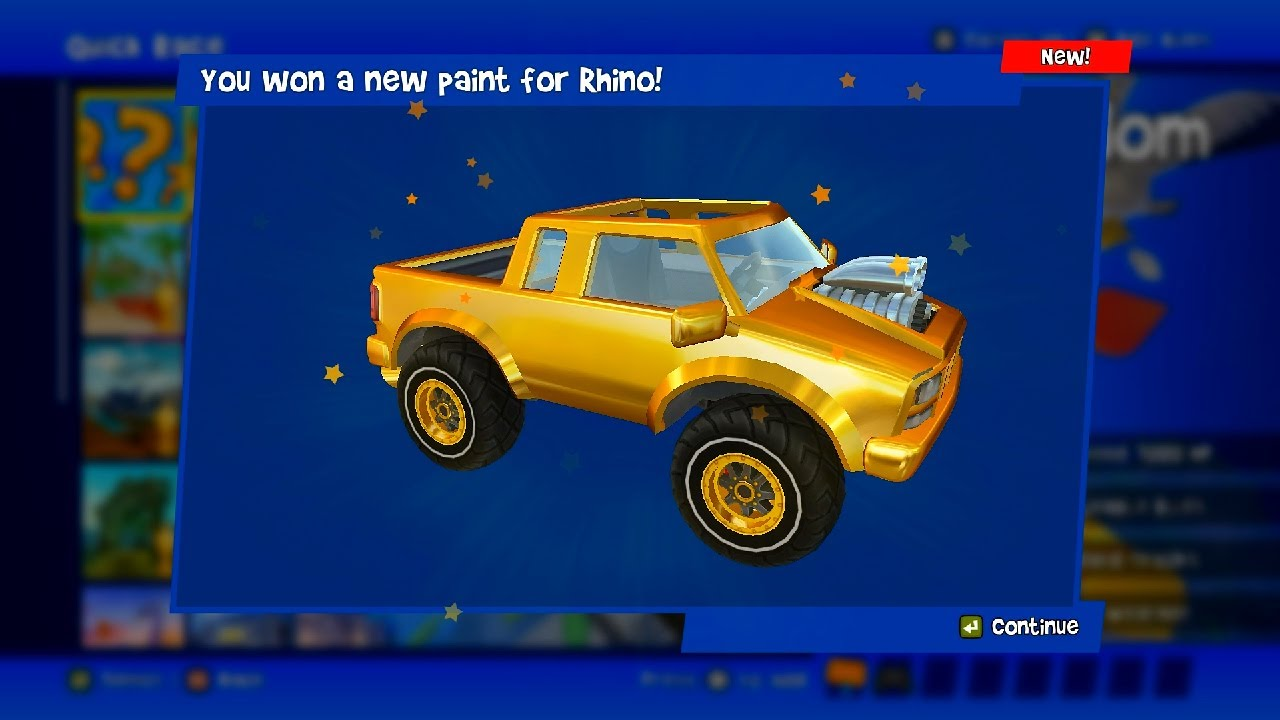 Gold Paint Rhino Unlocked | Beach Buggy Racing 2 PC | New Rez Outfit Driver