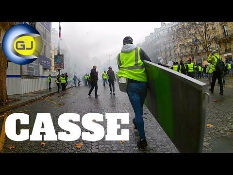 Gilet jaune : casseurs immeuble boulevard Haussmann, barricades. Paris 1 décembre acte III.