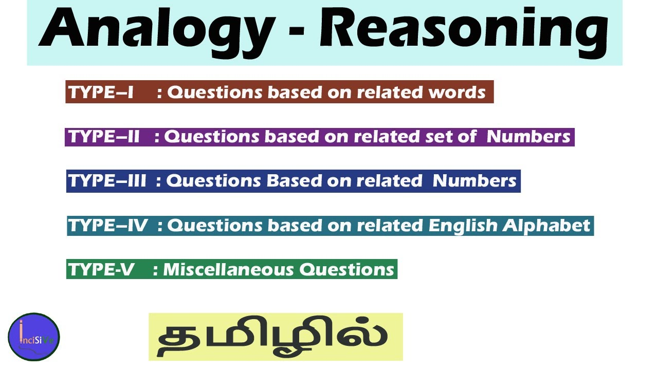 Analogy Reasoning Tamil Incisive Knowledge Academy Youtube