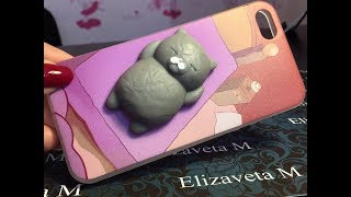 Чехол-антистресс на iPhone с мягким котиком с Алиэкспресс