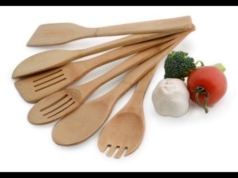 Lipper International 826 Set of 6 Bamboo Kitchen Tools in Mesh Bag