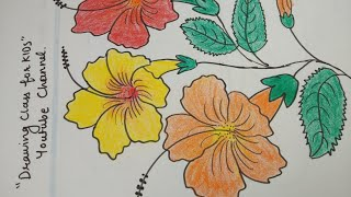 Flower drawing easy for kids/ hibiscus flower drawing / jasood flower