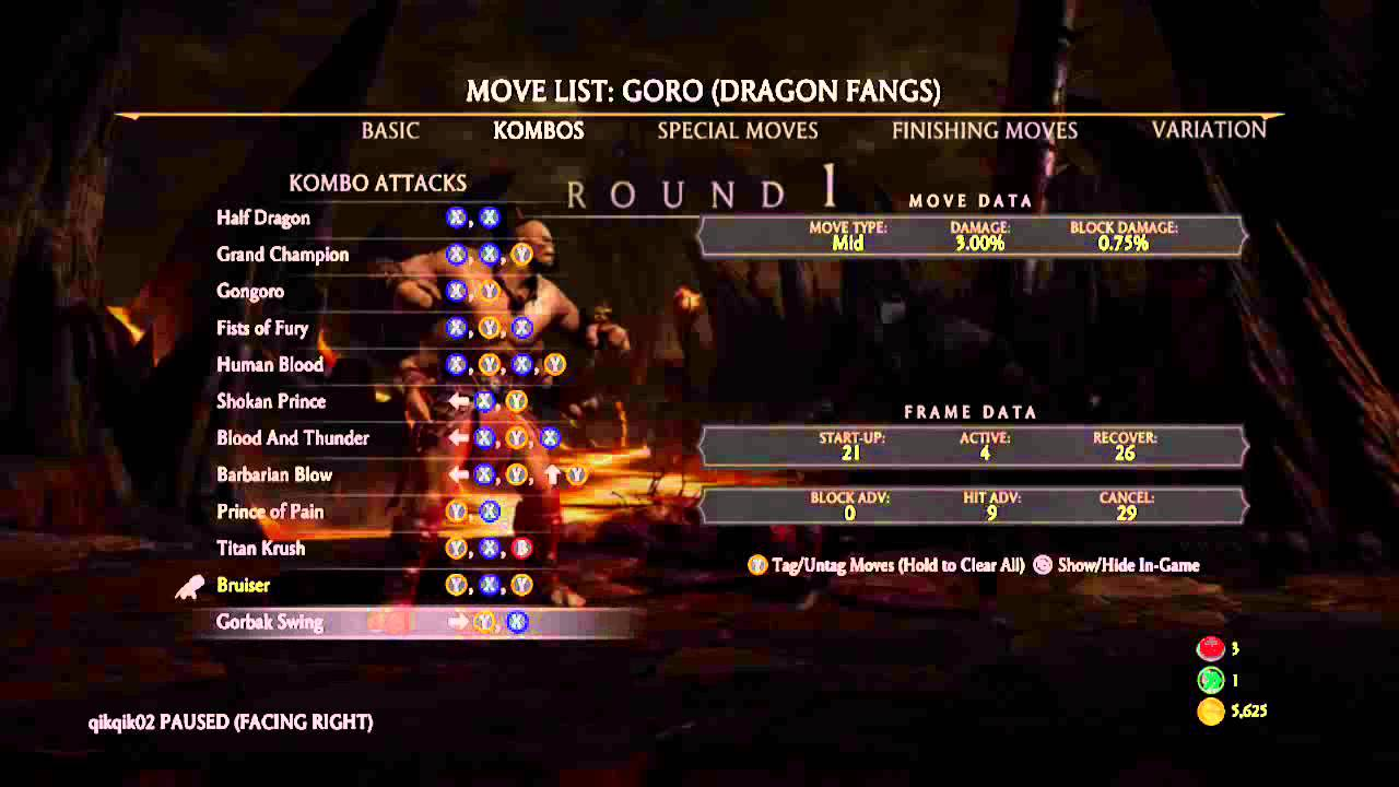 Mortal Kombat X Goro Dlc Moves List Youtube