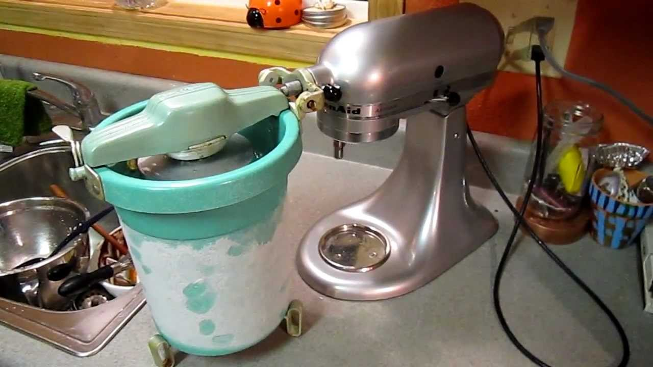 Kitchen Aid Ice Blue Vintage Kitchenaid Ice Cream Maker Freezer Kitchen Aid 1960s