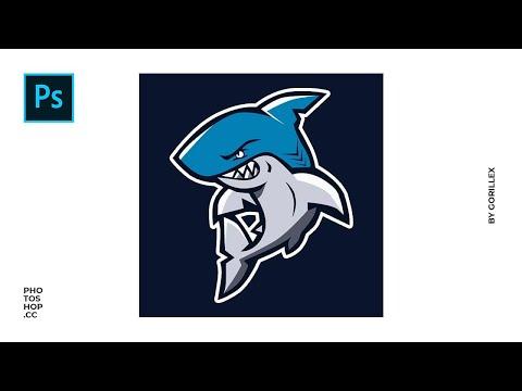 🎨 Shark Mascot Logo Design   Photoshop SpeedArt