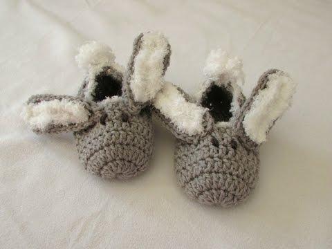 How to crochet children's bunny slippers / booties for beginners