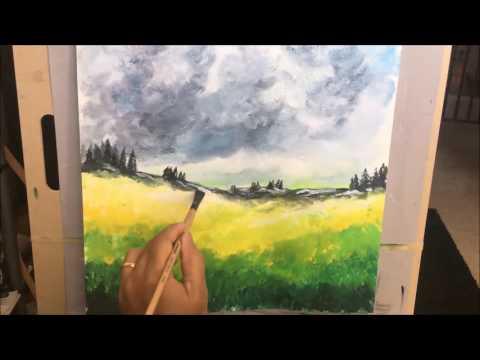 Acrylic landscape Demo – Impressionism style