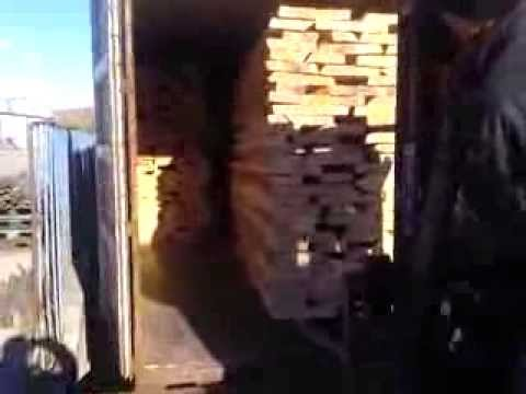 loading container with beech timber