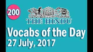 Daily The Hindu  Vocabulary (27 July, 2017) - Learn 10 New Words with Tricks | Day-200