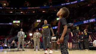 Isaiah Thomas gets help from his son during warmups   ESPN