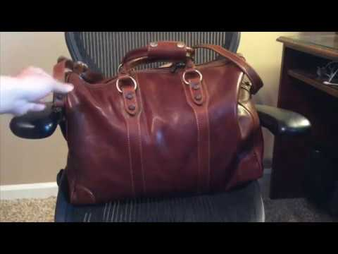 Floto Roma Duffle Saddle Brown Italian Leather Weekender Travel Bag