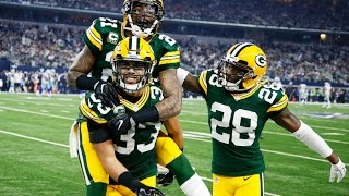 The green bay packers defeated dallas cowboys 33-31 at at&t stadium in a nfl divisional playoff game on sunday.green quarterback aaron rodgers comple...