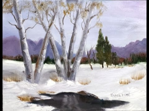 Paint Along with Larry Hamilton - Feb-19-2014-White Birch Trees in Winter-for Class