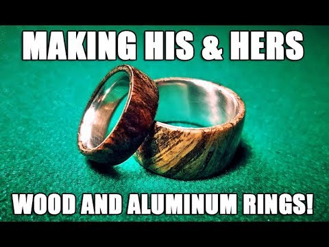 Making his and hers wood burl and aluminum rings!
