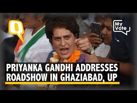 Priyanka Gandhi Addresses a Roadshow in Ghaziabad, UP