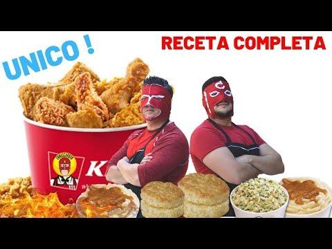 POLLO estilo KFC COMPLETA con pur,ensalada y BISQUETS! KFC chicken style recipe