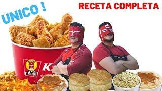 POLLO estilo KFC COMPLETA con puré,ensalada y BISQUETS! ︱KFC chicken style recipe