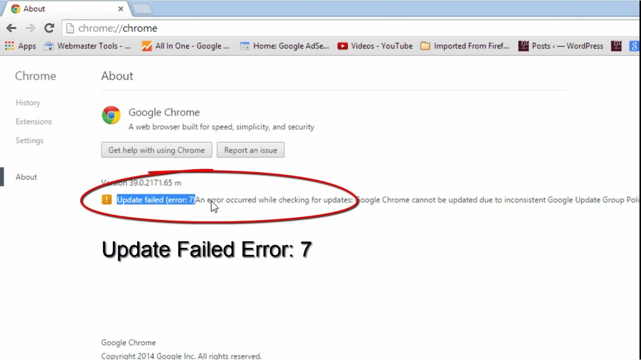 Google Chrome Update Error 7
