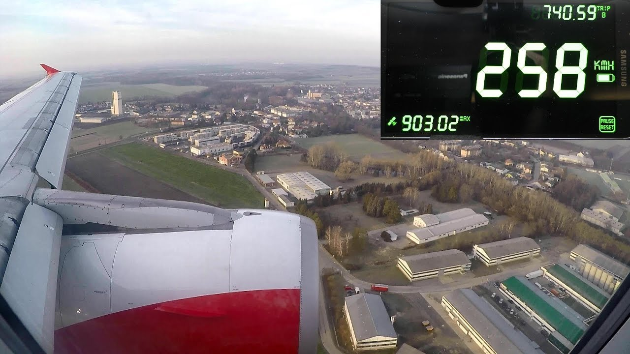 Landing SPEED Recording  Airbus A320  Flight from Milano Malpensa to Vienna