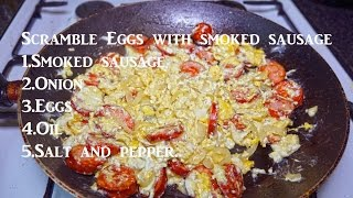 Scrambled Eggs With Smoked Sausage - Simple Food 4K