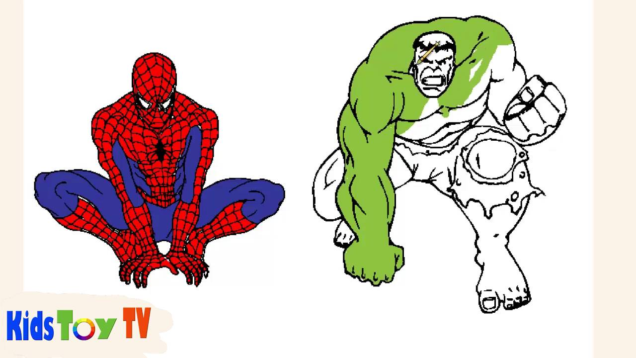 Spiderman Vs Hulk Coloring Books Spiderman Coloring Pages For Kids Youtube