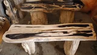 Stone Garden Bench | Petrified Wood Benches