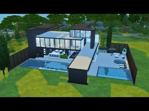 Outdoor Living Modern Mansion | Speed Build | The Sims 4 CC