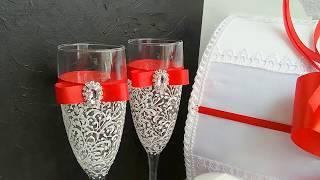 Свадьба в красном цвете. Свадебный декор: бокалы, свечи... | Jo Handmade