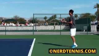 Kei Nishikori Practice Court Level Side View Slow Motion HD