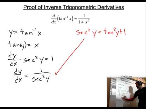 Derivative of the Inverse Tangent Function Proof - YouTube
