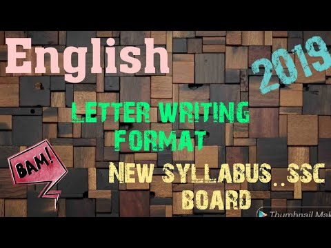 English Letter Writing Format New Syllabus Ssc Board 2019