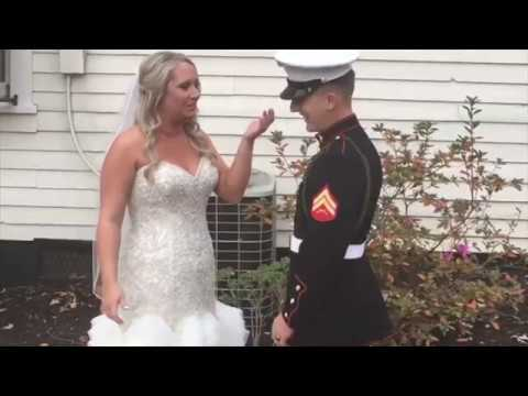 Marine surprises big sister on her wedding day