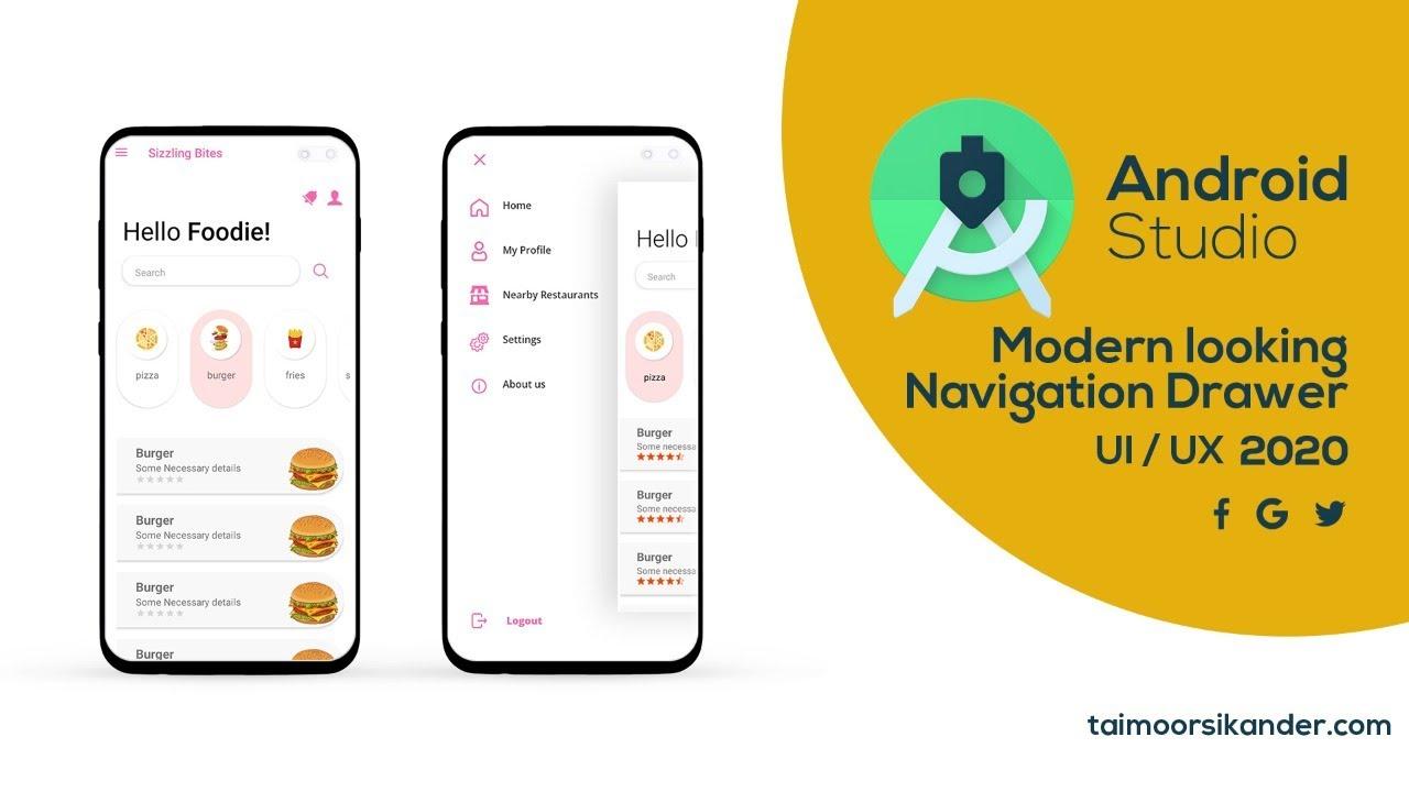 Navigation Drawer Android studio 2020 -  Custom Navigation Drawer Android Studio - Navigation Drawer