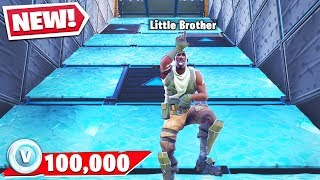 My Little Brother GETS 100k VBUCKS If He WINS.. (Fortnite Trappers Vs Runners)
