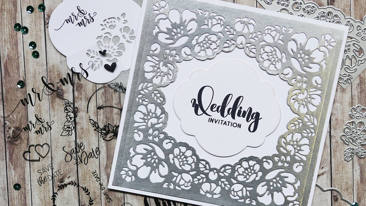 Flower Lace Wedding Invitation | Technique Friday with Els - YouTube