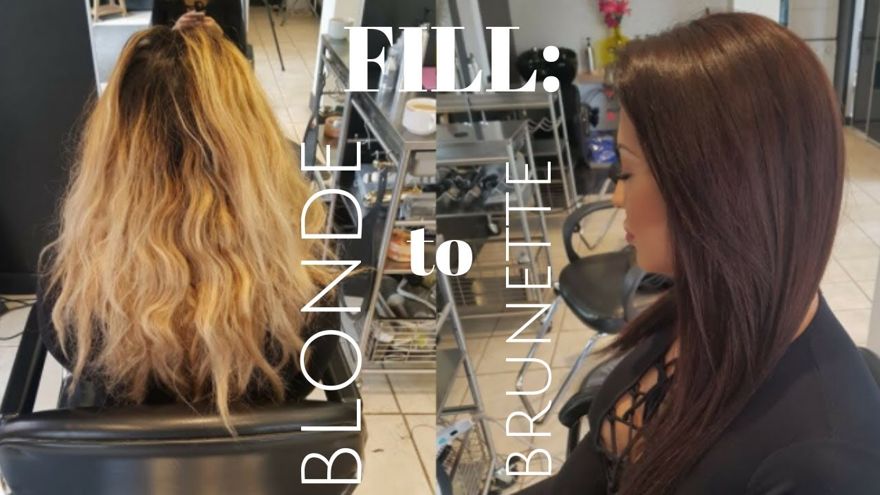 How To Properly Fill Blonde Hair To Chocolate Brunette Youtube