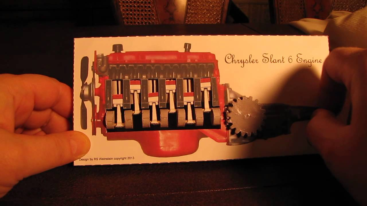 Papercraft Kinetic sculpture of Chrysler Slant 6 engine paper model