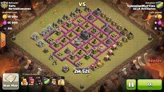 Clash of Clans TH7 vs TH9 Hog Rider Clan War 3 Star Attack