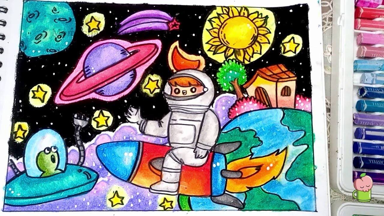 How To Draw And Coloring Space With Oil Pastel Step By Step Easy For Kids